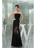Formal Evening Dress-Black Trumpet/Mermaid Strapless Floor-length Lace / Tulle