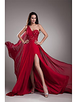 Formal Evening Dress-Ruby A-line One Shoulder Court Train Chiffon