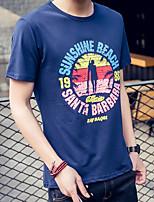 Men's Print Casual T-Shirt,Cotton / Spandex Short Sleeve-Blue