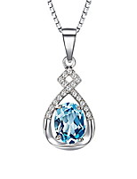Super Flash Retro Blue Rhinestone Stone Pendant Necklace 925 Silver Chain Vintage Women Nice Jewelry