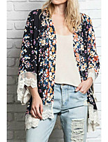 Women's Casual/Daily Simple Jackets,Floral Round Neck ¾ Sleeve Black Polyester