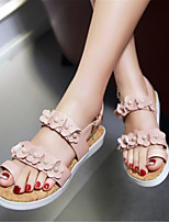 Women's Shoes Leatherette Summer Comfort / Toe Ring Sandals Dress / Casual Flat Heel Imitation Pearl / Buckle / FlowerBlack / Blue / Pink