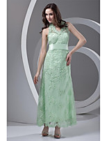 Formal Evening Dress-Sage Sheath/Column Halter Ankle-length Lace