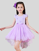 Girl's Casual/Daily Print Dress,Cotton / Polyester Summer / Spring Purple