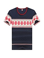 Men's Print Casual T-Shirt,Cotton Short Sleeve-Blue / Red / White / Gray