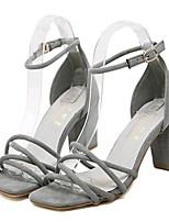 Chaussures Femme-Extérieure / Décontracté-Noir / Gris / Amande-Gros Talon-Talons-Sandales-Laine synthétique