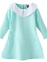 Girl's Blue Dress,Ruffle Cotton Spring / Fall
