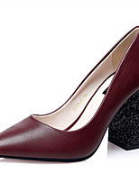 Women's Shoes Fleece Chunky Heel Heels Heels Casual Black / Red / Khaki