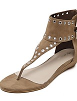 Women's Shoes Suede Summer Gladiator Sandals Casual Flat Heel Rivet Black / Khaki