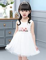 A-라인 무릎 길이 플라워 걸 드레스 - 면 / 튤 민소매 쥬얼리 와