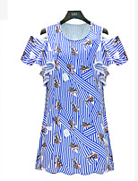 Women's Casual/Daily / Plus Size Simple / Street chic Dress,Print Round Neck Above Knee Short Sleeve Blue Rayon Summer