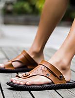 Zapatos de Hombre-Sandalias-Casual-Cuero-Azul / Marrón / Caqui
