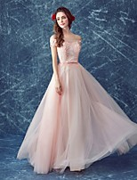 Formal Evening Dress-Blushing Pink A-line Off-the-shoulder Floor-length Tulle