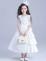 플라워 걸 드레스-A-라인 민소매 종아리 길이 면 / 레이스 / 새틴