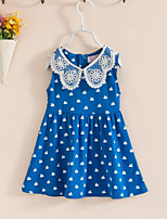Girl's Casual/Daily Dress,Cotton Summer Blue / Red