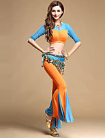 Belly Dance Outfits Women's Performance Tulle Draped 3 Pieces Fuchsia / Orange / Royal Blue / Sky blue Belly Dance Pants / Top / Belt