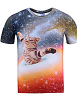 Summer 3D Space Animal CatMen's Sleeveless T-Shirt,Cotton Casual Print
