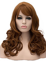 Short Size Brown Color Curly Hair Synthetic Wigs