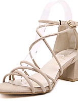 Women's Shoes Fleece Summer Heels Outdoor / Casual Chunky Heel Buckle Black / Almond