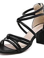 Scarpe Donna-Sandali-Tempo libero / Casual-Tacchi-Quadrato-Finta pelle-Nero / Bianco