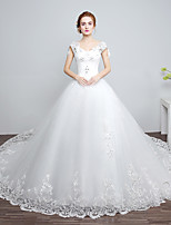 Ball Gown Wedding Dress-Chapel Train V-neck Lace / Satin / Tulle