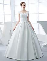 A-line Wedding Dress-Ivory Floor-length V-neck Satin