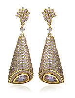 Beautiful Women Earring White Cubic Zirconia 18K Gold Plated & Imitation Pearls Dorp Earrings Weddin Jewerly