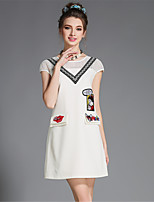 Fashion Summer Women Plus Size Embroidered Patchwork Hollow Pocket Short Sleeve Dress