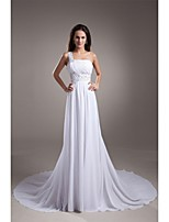 A-line Wedding Dress Court Train One Shoulder Chiffon / Satin with Beading / Draped