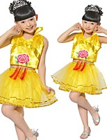 Performance Outfits Children's Performance Sequined Sequins 2 Pieces Green / Red / Yellow Performance Sleeveless Skirt / Top