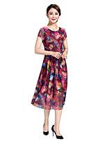 Women's Beach / Plus Size Boho Chiffon Dress,Print Round Neck Midi Short Sleeve Red Polyester Summer