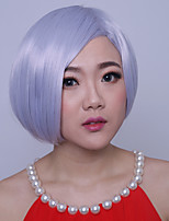 Women Short Straight Synthetic Hair Cosplay Wig Side Bang Granny Grey