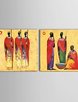Hand-painted Abstract African Oil Painting 2 Piece/Set Wall Art with Stretched Frame
