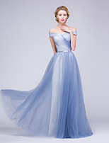 Formal Evening Dress A-line Off-the-shoulder Floor-length Tulle with Beading / Sash / Ribbon / Side Draping