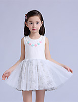 Girl's Casual/Daily Patchwork Dress,Cotton / Polyester Summer / Spring White / Beige