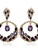 New designs Round shape Luxury Platinum 18K Gold Plated 8 colors Cubic Zirconia Brass Drop earrings for women