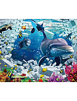 JAMMORY Art Deco Wallpaper Contemporary Wall Covering,Canvas Stereoscopic Large Mural Submarine World Dolphin