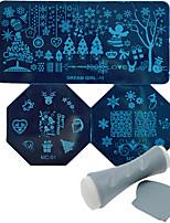 Christmas DIY Poland snow image template Manicure transfer tool nc165