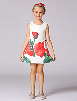 Girl's Casual/Daily Floral Dress,Cotton / Polyester Summer / Spring White