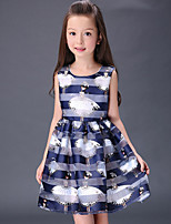 Girl's Cotton Summer  Cartoon Pattern  Printing  Jumper Skirt  Lace Dress