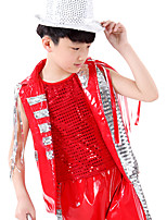 Jazz Outfits Children's Performance Polyester / Sequined Sequins 3 Pieces Black / Red