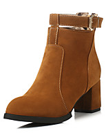Women's Boots Spring / Fall / Winter Fashion Boots Leatherette Outdoor /Casual Chunky Heel BuckleBlack / Brown / Red