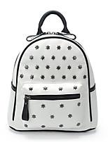 Women-Outdoor-PU-Backpack-White / Black