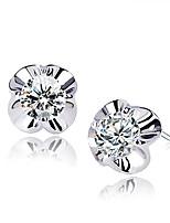 Women's Simple Style Four Petal Flower Type Zircon Hypoallergenic Earrings