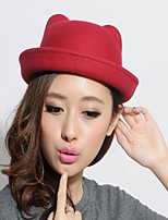 Women Vintage Casual Orecchiette Flanging Dome Cashmere Wool Solid Color Bear Hat