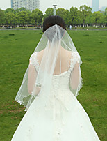 Wedding Veil Two-tier Fingertip Veils Pencil Edge Tulle White White