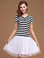 Latin Dance Dress Women's Performance Cotton / Tulle / Milk Fiber Ruched 2 Pieces Black / Blue / Red  Colors