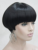 Fashion Center Dot Skin Top Of Black Bob Mushroom Style wig with Bangs
