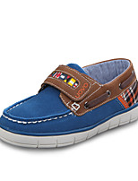 Boys' Shoes Casual Leather Boat Shoes Spring / Summer / Fall Comfort / Round Toe / Closed Toe Plaid / Magic Tape Blue / Green