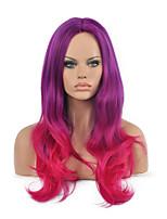 peluca sintética cosplay del pelo púrpura y fuxia largo ondulado color de tono dos